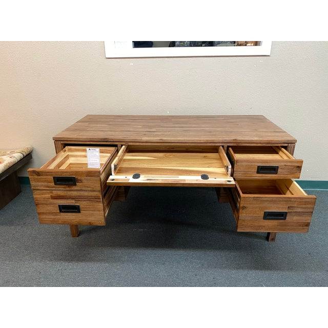 Reclaimed Wood Champagne Desk For Sale - Image 4 of 10
