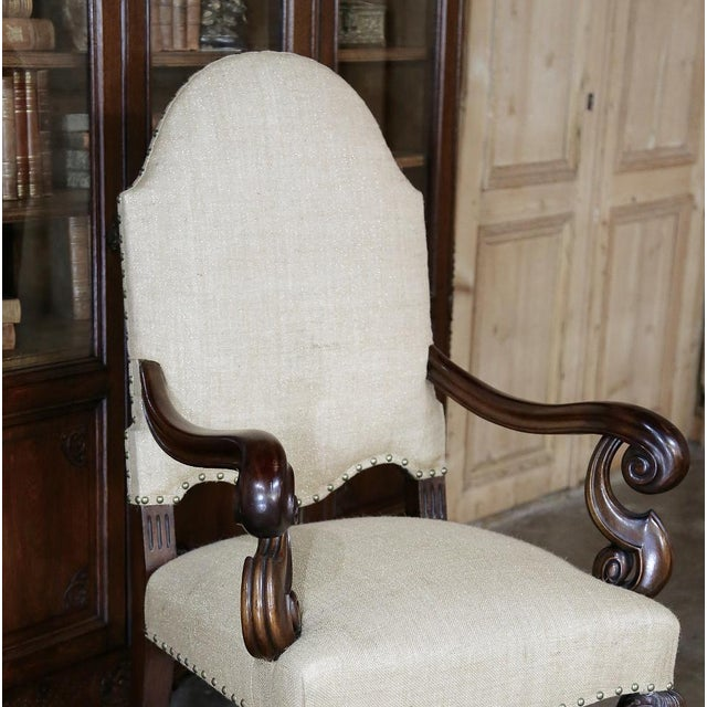 Brown 19th Century French Walnut Louis XIV Armchair For Sale - Image 8 of 13