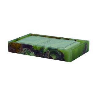 Green Marble Guest Towel Tray For Sale