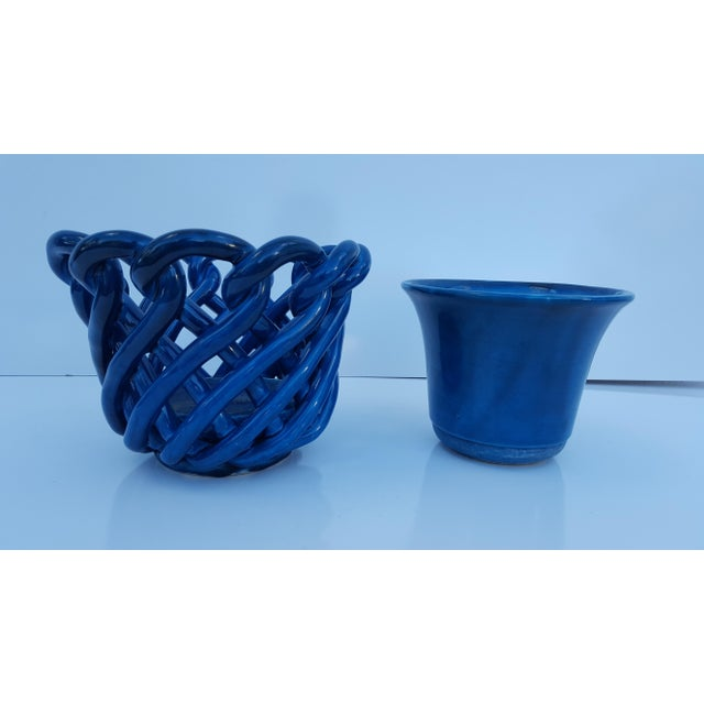 Vintage Blue Turquoise Decorative Planter Pot. For Sale - Image 4 of 8