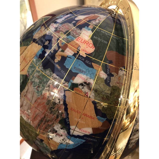 Traditional Mixed Stone and Brass Desktop Globe For Sale - Image 3 of 11