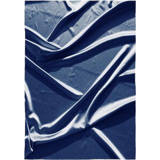Smooth Fabric Composition, Classic Blue Silk Blueprint on Watercolor Paper, Minimal Trace 100x70cm , Zen Decor For Sale