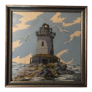 Vintage Framed Lighthouse Needlepoint