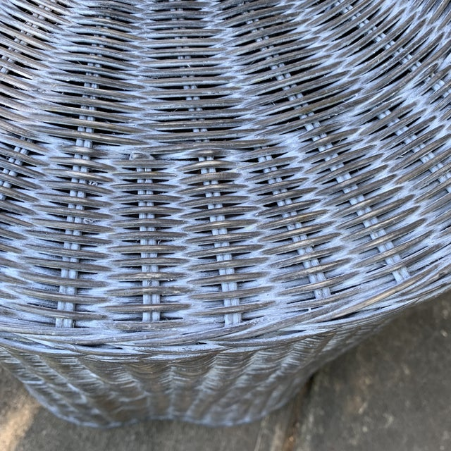 Trompe l'Oeil Round Top Draped Grey Rattan Side Table For Sale - Image 4 of 12