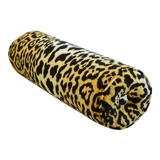 """Custom-Tailored Big Cat Leopard Animal Velvet Bolster Pillow 23"""" X 8"""" For Sale"""
