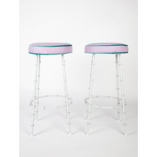 Lilac Faux Bamboo Bar Stools With Powder Coated Frames Preview