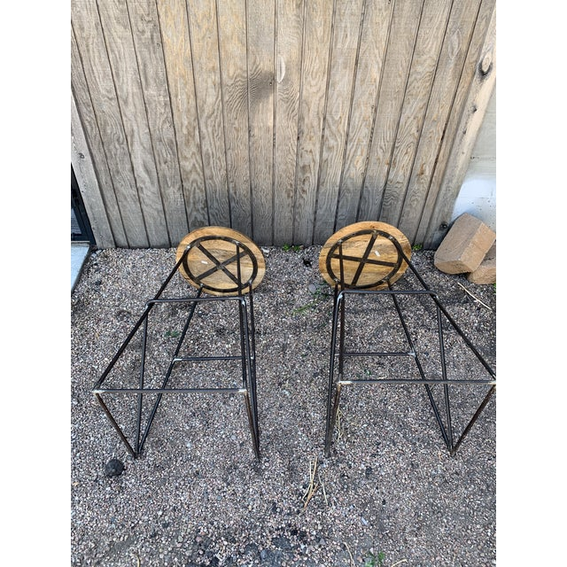 Modern Kalalou Rustic Wood and Metal Bar Stools- a Pair For Sale - Image 11 of 13