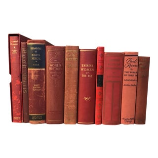 Red Decorative Books - Set of 10