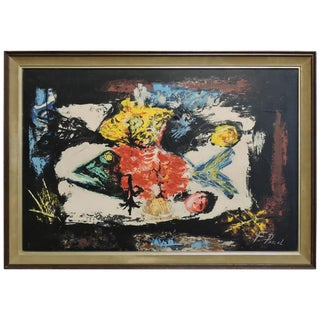 Mid-Century Modern Still Life Painting With Fish Signed F. Pascal For Sale