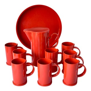 Dansk Chili Red Melamine Pitcher, Glass and Tray Set - 10 Pc. Set For Sale
