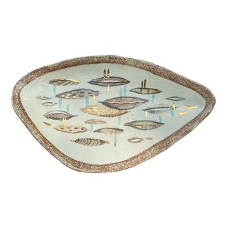 Vintage Mid-Century Modern Pottery Biomorphic Fish Dish For Sale