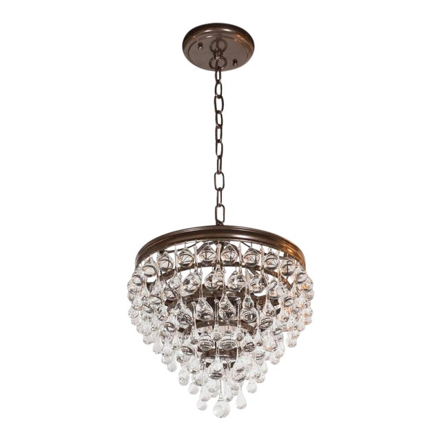 Hollywood Regency Crystal Teardrop and Ball Chandelier with Bronze Fittings For Sale