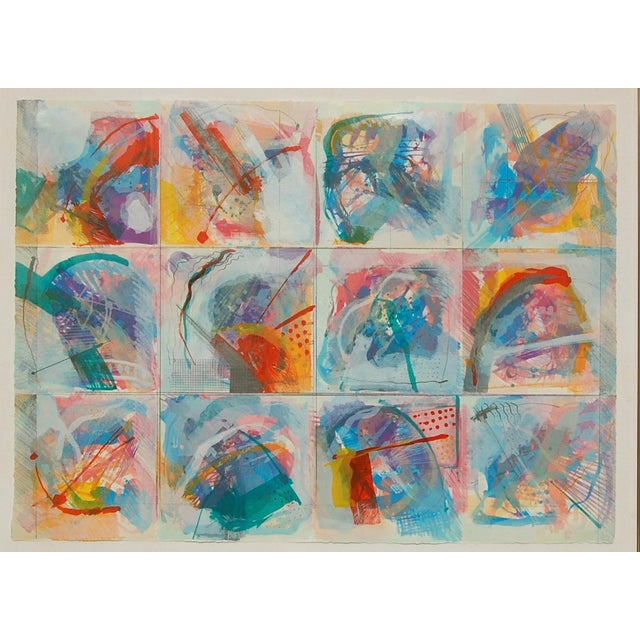 """Abstract Limited Edition """"Flowers in the Window"""" Framed Lithograph Print by Calman Shemi For Sale - Image 3 of 4"""
