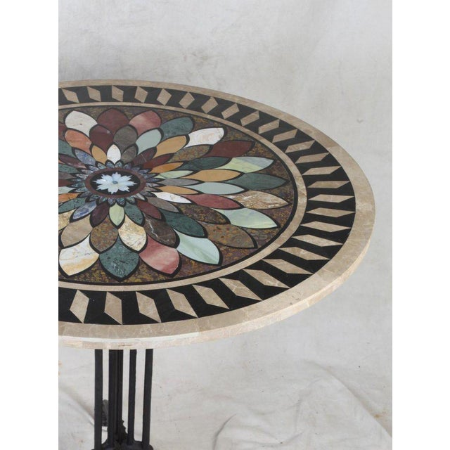 Art Deco Cast Iron Base Table With Pietra Dura Specimen Top and 4 Iron Chairs For Sale - Image 12 of 13