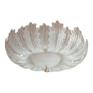 Large Translucent Leaves Murano Glass Mid Century Modern Flush Mount Light For Sale