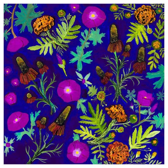 Eli Halpin's electric violet floral painting is filled with all types of bold blooms! Our canvas wall art and art prints...