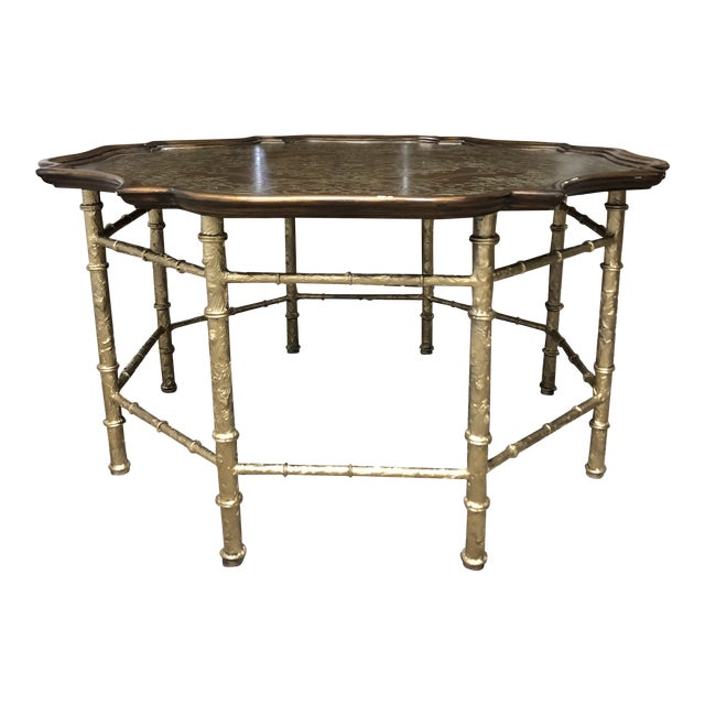 Mid-Century -Chippendale Metal Inlay Cocktail Table For Sale