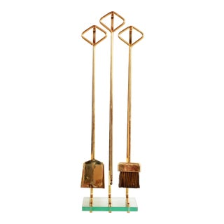 Fontana Arte Mid Century Modern Solid Brass Fireplace Tools For Sale