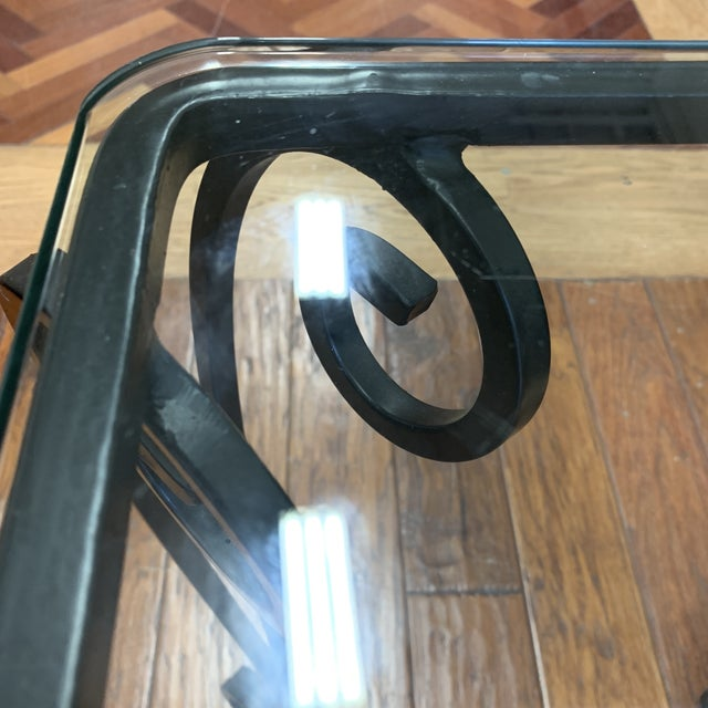 Metal Italian Style Wrought Iron Scroll Base + Glass Console For Sale - Image 7 of 8