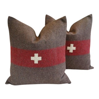 """Custom Swiss Appliqué Cross Wool Feather/Down Pillows 22"""" Square - Pair For Sale"""