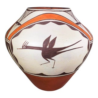 Southwest Zia Pueblo Roadrunner Polychrome Pottery For Sale