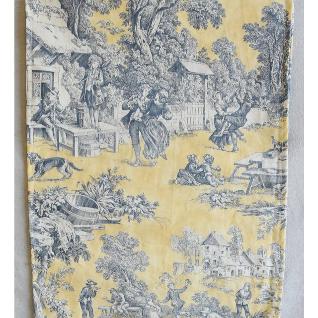 "Custom French Country Farmhouse Toile Table Runner 110"" Long For Sale In Los Angeles - Image 6 of 9"