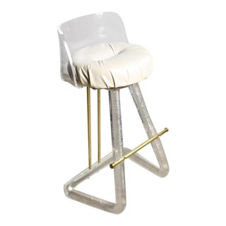 Hollywood Regency Bar stool in Lucite and Brass Attributed to Leon Frost For Sale