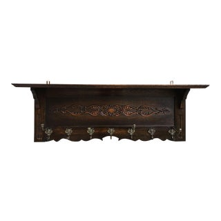Big Antique French Country Dark Carved Oak Wall Shelf Coat Hat Plate Rack Brass For Sale