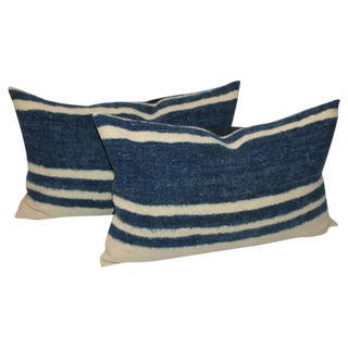 Set of Four Indigo and White Striped Alpaca Bolster Pillows For Sale