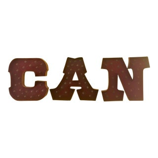 """CAN"" Lighted Metal Wall Letters - Set of 3 For Sale"