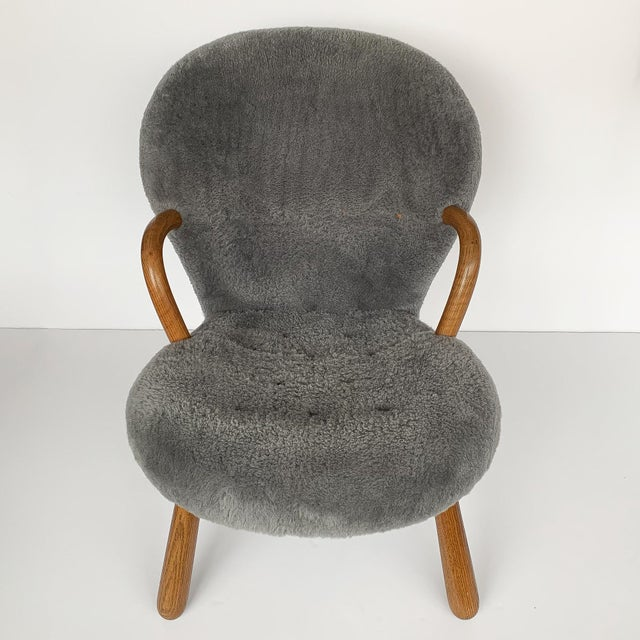 Philip Arctander Philip Arctander for Paustian Gray Sheepskin Upholstered Lounge Chairs - a Pair For Sale - Image 4 of 13