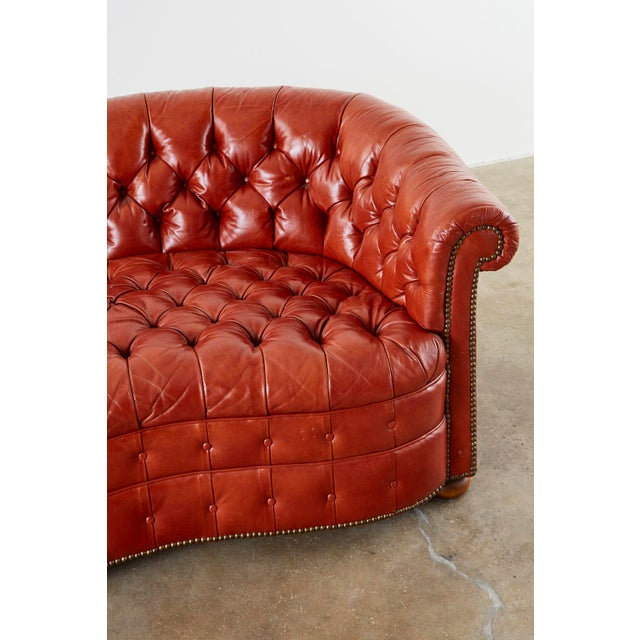 Mid 20th Century Midcentury English Chesterfield Style Kidney Bean Leather Settee For Sale - Image 5 of 13