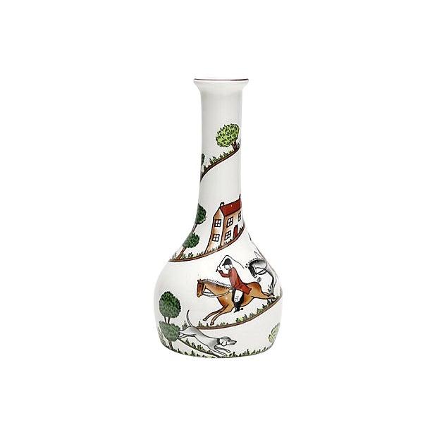 English Hunting Scene Bud Vase For Sale