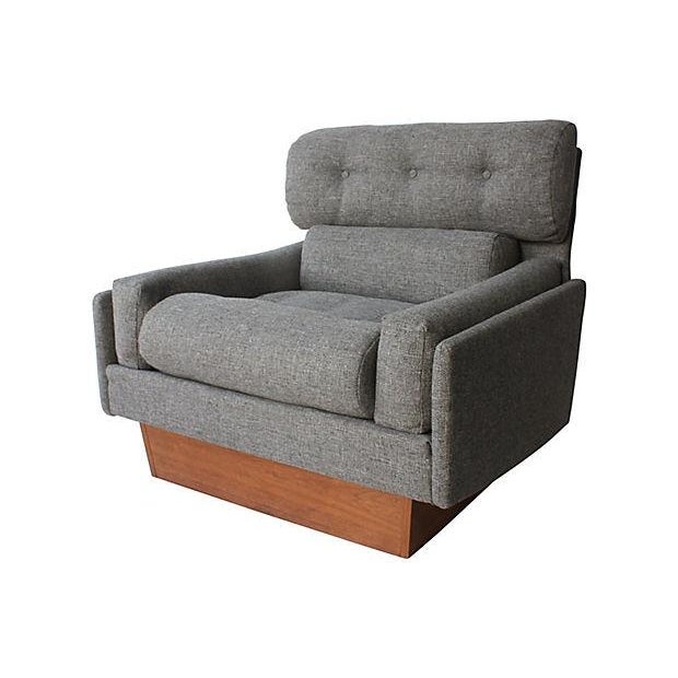 """Pair of two Pearsall-style gray tweed club chairs with teak plinth bases. No maker's mark. Newly recovered. Seats, 17""""H...."""