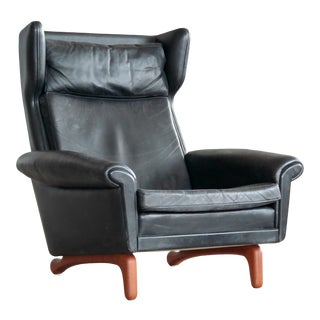 Aage Christensen Model Diplomat High Back Lounge Chair in Black Leather For Sale