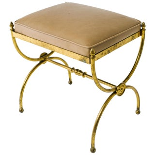 Classical 1940s Brass Bench With Leather Top For Sale