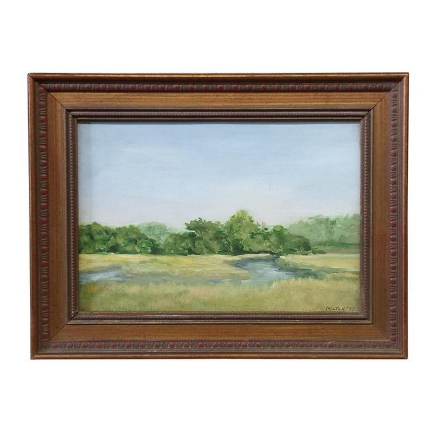 "1970s Vintage ""Outer Banks"" Oil Painting by Kenneth Milton For Sale - Image 4 of 4"
