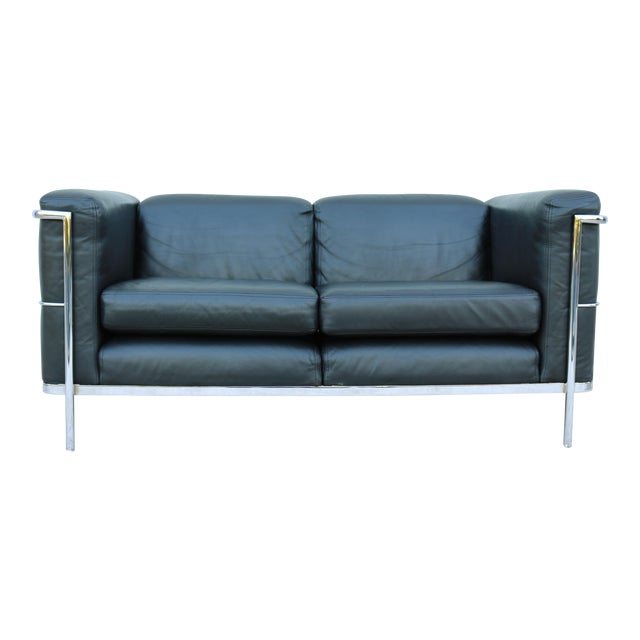 1980's Le Corbusier LC2 Jack Cartwright Black Leather Loveseat For Sale