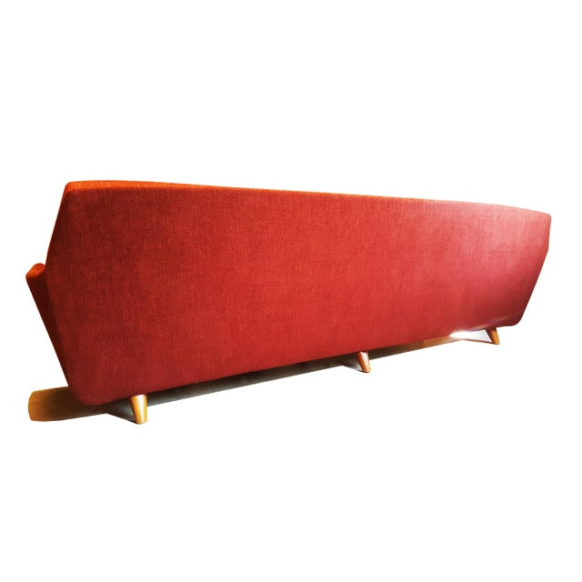 Beech Large Swedish Mid-Century Modern/Space Age Folke Ohlsson for Dux Red Sofa/Couch For Sale - Image 7 of 8