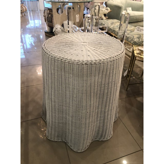 1970s Vintage Draped Wicker Rattan Trompe L Oeil Side End Table Lacquered in Your Choice of Color For Sale - Image 5 of 9