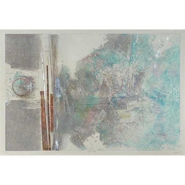 "Robert Alan DeVoe (1928-) ""Striding Moon"" Monoprint C.1987 Born in Elmira, New York, Robert Devoe earned his BFA and MFA..."