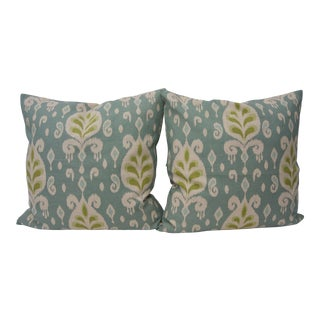 Custom Green, Tan and Blue Ikat Pattern Fabric Pillows - a Pair For Sale