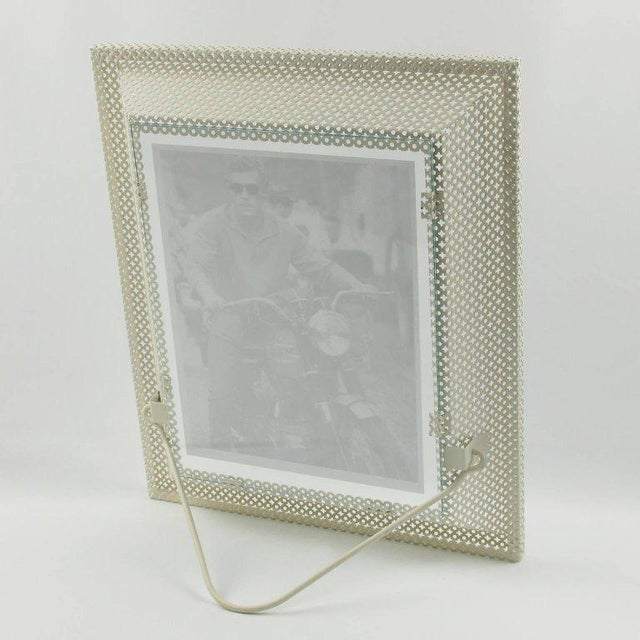 French Mathieu Mategot White Perforated Metal Picture Photo Frame For Sale - Image 3 of 6