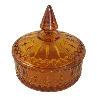 1970s Indiana Glass Amber Princess Candy Dish For Sale