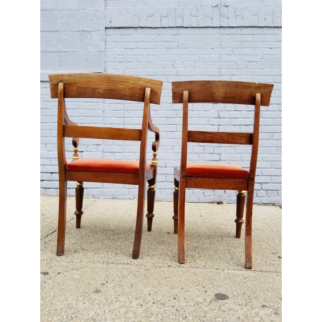 Late 19th Century Antique Neoclassical Mahogany Gilt Side Chairs - a Pair For Sale - Image 5 of 11