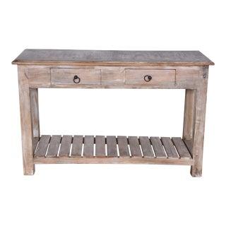 Whitewashed Mango Wood Entryway Table