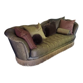 Vintage Silk Living Room Sofa With Pillows For Sale