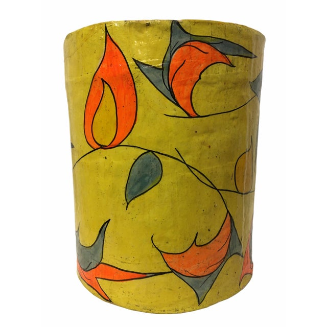 Mexican Vintage Mid-Century Paper Mache Can / Vessel For Sale - Image 3 of 9