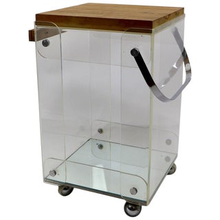 Lucite Chrome and Wood Serving Cart For Sale