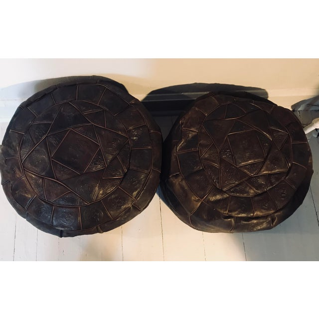 Dark Brown Leather Poufs - A Pair For Sale - Image 4 of 6